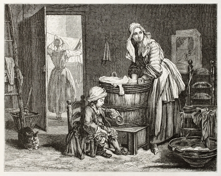 soap suds: Old illustration of a laundress. Created by Bocourt after Chardin, published on Magasin Pittoresque, Paris, 1850