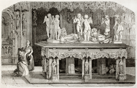chased: Old illustration of Philibert II (Philibert le Beau) tomb in Brou church, France. Created by Mathieu, published on Magasin Pittoresque, Paris, 1850