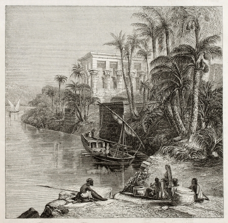 transported: Old illustration of Trajan kiosk, hypaethral temple, today in Agilkia Nile island, transported from Philae island., Egypt. Created by Bartlett, published on Magasin Pittoresque, Paris, 1850 Editorial