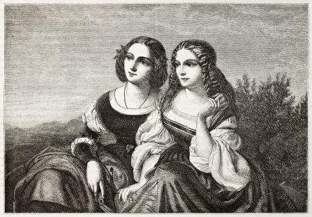 Old illustration of two sisters. Created by Staal after Sohn, published on Magasin Pittoresque, Paris, 1850