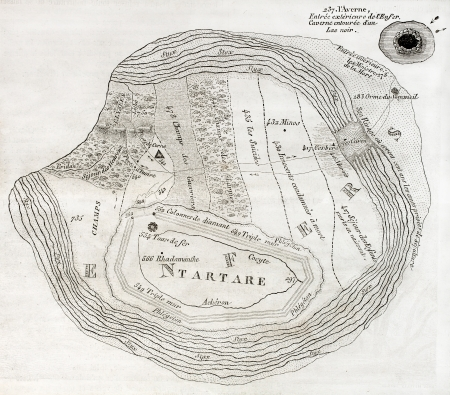 virgil: Old map of Underworld, such as described in the Aeneid sixth book. Created by Ratel,  published on Magasin Pittoresque, Paris, 1850 Editorial