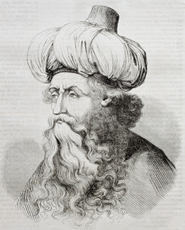 engraver: Old engraved portrait of Israhel van Meckenem the younger, German goldsmith and printmaker. Credated by Pauquet after  the same artist. Published on Magasin Pittoresque, Paris, 1850