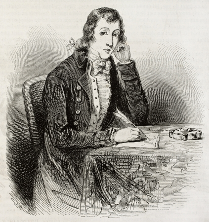 paquet: Old engraved portrait of Alexander Wilson, poet, naturalist, ornithologist. Created by Paquet after American engraving of unidentified author. Published on Magasin Pittoresque, Paris, 1850
