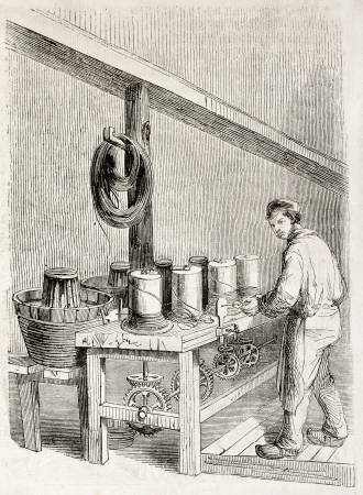 industrial heritage: Old illustration of wire drawing workshop in antique needle factory. By unidentified author, published on Magasin Pittoresque, Paris, 1850