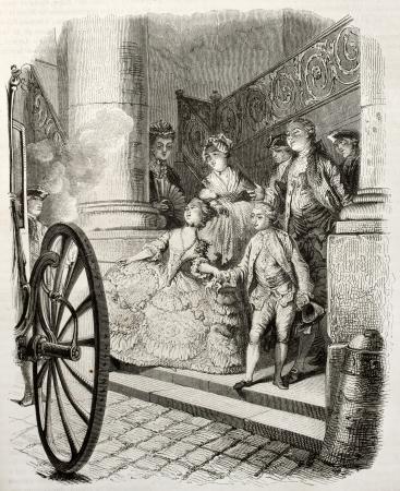 aristocrático: Antigua ilustraci�n de una pareja joven arist�crata a bordo de un carro. Creado por Moreau, publicada en Magasin Pittoresque, Par�s, 1850