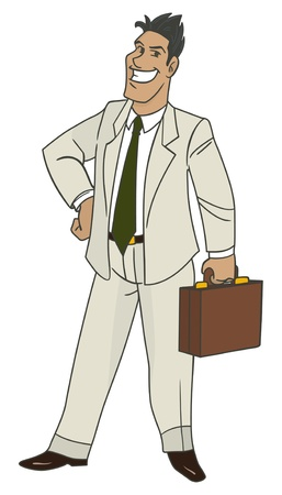 Cartoon style businessman holding handbag Stock Vector - 15333221
