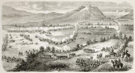 interventie: Franse interventie in Mexico: Atlixco slagveld algemene mening. Gemaakt door Gaildrau na Girardin, gepubliceerd op L'Illustration, Journal Universel, Parijs, 1863 Stockfoto