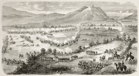 French intervention in Mexico: Atlixco battlefield general view. Created by Gaildrau after Girardin, published on L'Illustration, Journal Universel, Paris, 1863 Stock Photo