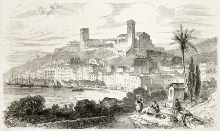 alpes maritimes: Cannes old view, France. Created by Rouargue after Boucher, published on LIllustration, Journal Universel, Paris, 1863