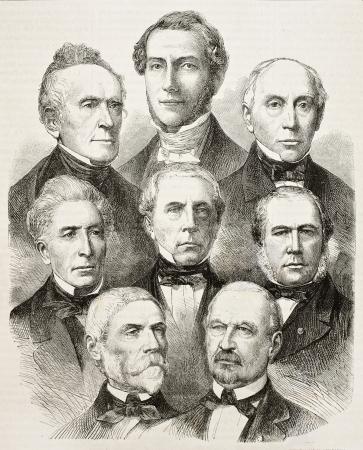 French senators elected in 1863.  After photos of Cremiere, Mayer, Pierson, Frank, Ken, Disderi, published on LIllustration, Journal Universel, Paris, 1863