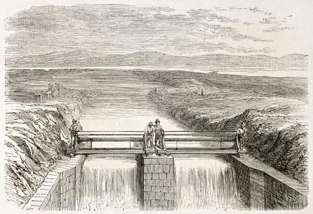 provisional: Canal provisional de drenaje del lago Fucino, Italia. Creado por Gaildrau, publicado en L'Illustration, Universel Journal, Par�s, 1863