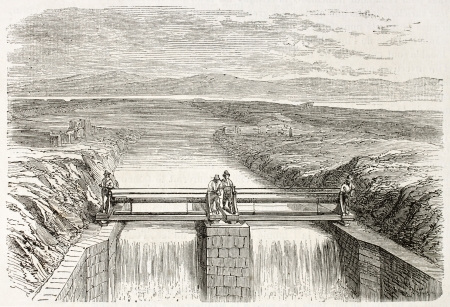 drainage: Provisional channel for Fucine lake drainage, Italy. Created by Gaildrau,  published on LIllustration, Journal Universel, Paris, 1863