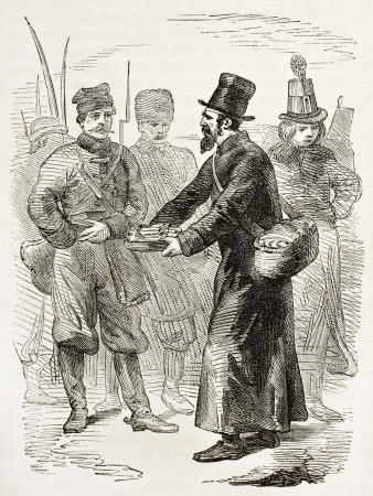 Jew merchant of cakes old engraved portrait. Created by Worms, published on LIllustration, Journal Universel, Paris, 1863