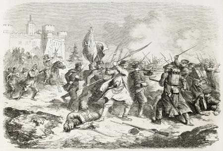 insurrection: Krasnobrod battle old illustration, Poland. Created by Worms, published on LIllustration, Journal Universel, Paris, 1863
