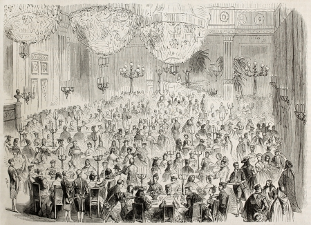 Masked ball in Tuileries palace, Paris: supper in Galerie de la Paix. Created by Pauquet after Moullin, published on Lillustration, Journal Universel, Paris, 1863 illustration