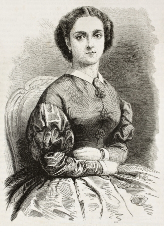 Adelina Patti 오래 된 새겨진 초상화 (이탈리아 오페라가 수). Pauquet과 Chapon, L' illustration, Journal Universel, 파리, 1863 년에 출판 됨. 스톡 콘텐츠