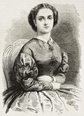 chanteur opéra: Adelina Patti vieux portrait gravé (chanteur d'opéra italien). Créé par Pauquet et Chapon, publié sur L'illustration, Journal Universel, Paris, 1863