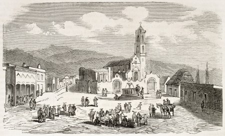 belfry: Perote market square old view, Veracruz, Mexico. Created by Gaildrau, published on LIllustration, Journal Universel, Paris, 1863