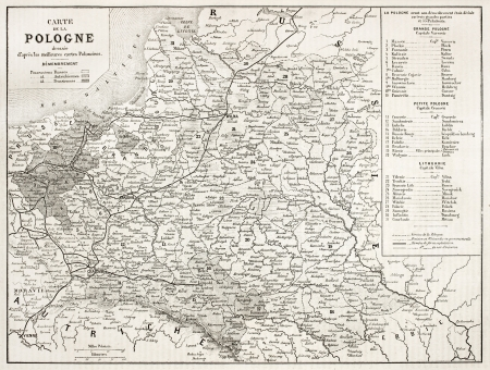 Poland old map. By unidentified author, published on LIllustration, Journal Universel, Paris, 1863