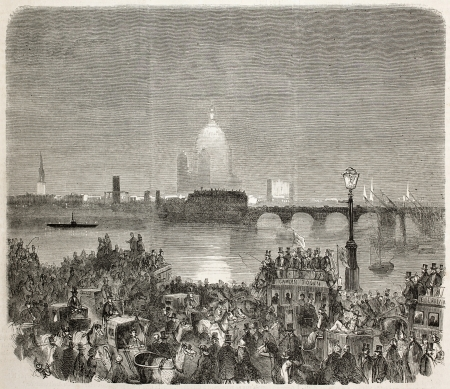 river thames: Prince of Wales wedding in London (Prince Edward and Alexandra of Denmark). Created by Blanchard, published on LIllustration, Journal Universel, Paris, 1863 Stock Photo