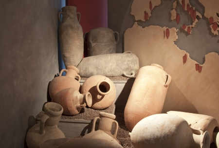 clay craft: Antique amphora found in Solunto, Sicily Stock Photo