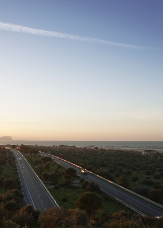 A29 motorway at sunset, Sicily photo
