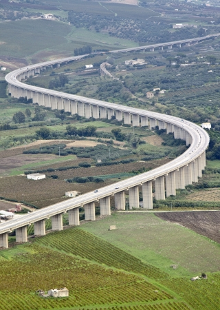 Suspended motorway in the sicilian country  photo