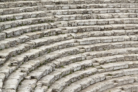 amphitheater: Steps of ancient Greek theater at Segesta, Sicily Editorial