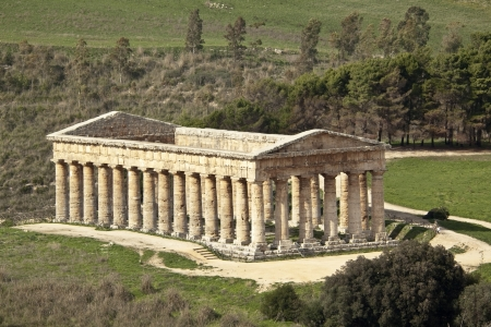 segesta: Temple of Segesta from above front hill, western Sicily