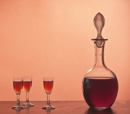 Old glassware with Marsala wine Stock Photo