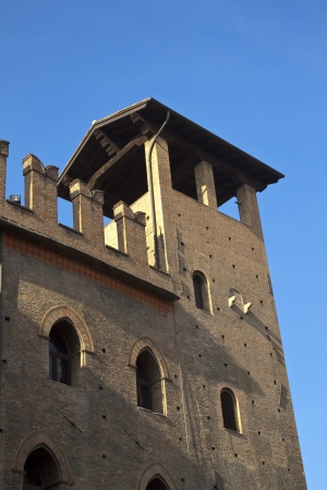 enzo: Re Enzo castle corner tower, Bologna, Italy. Stock Photo