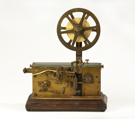 Old telegraph on white background Stock Photo