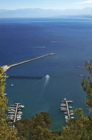 golfo: Boats moored beside Castellammare del Golfo seaports outer pier, Sicily