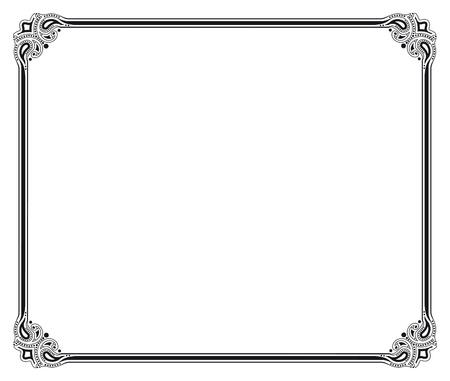 bordure de page: cadre vecteur noir et blanc Illustration