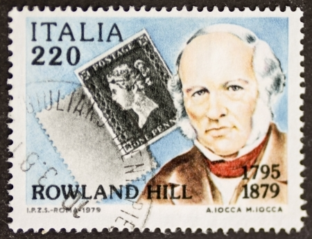 ITALY – CIRCA 1979: a stamp printed in Italy celebrates the first centenary of thedeath of Rowland Hill, postage stamp inventor. Italy, circa 1979 Stock Photo - 21844240