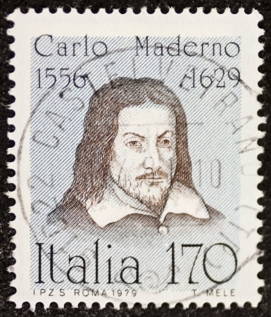 ITALY – CIRCA 1979: a stamp printed in Italy celebrates Carlo Maderno (1556 - 1629), Swiss-Italian architect, remembered as the creator of Saint Peter's Basilica facade in Rome. Italy, circa 1979 Stock Photo - 21844242