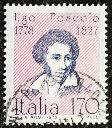ITALY – CIRCA 1979: a stamp printed in Italy celebrates Ugo Foscolo (1778 - 1827), famous Italian writer and poet. Italy, circa 1979 Stock Photo - 21844243