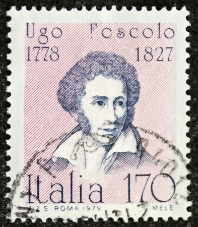 ITALY � CIRCA 1979: a stamp printed in Italy celebrates Ugo Foscolo (1778 - 1827), famous Italian writer and poet. Italy, circa 1979 Stock Photo - 21844243