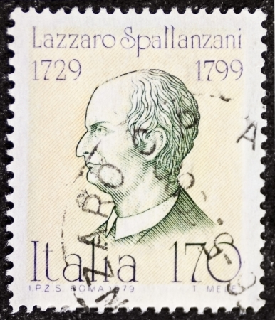 echolocation: ITALY – CIRCA 1979: a stamp printed in Italy celebrates Lazzaro Spallanzani (1729 - 1799), Italian Catholic priest, famous biologist and physiologist. Italy, circa 1979