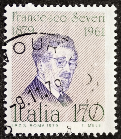 contributions: ITALY – CIRCA 1979: a stamp printed in Italy celebrates Francesco Severi (1879 - 1961), famous Italian mathematician, remembered for his contributions in algebraic geometry. Italy, circa 1979