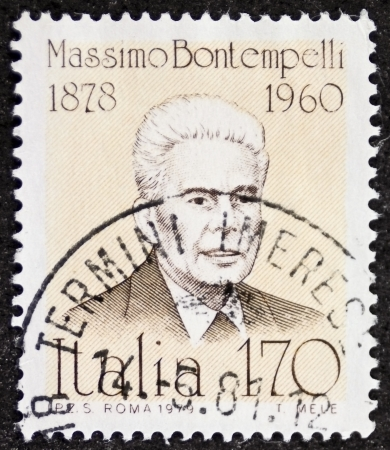ITALY � CIRCA 1979: a stamp printed in Italy shows Massimo Bontempelli (1878 - 1960), Italian journalist, writer, essayist who promoted the literary style known as Magical Realism. Italy, circa 1979 Stock Photo - 21844246