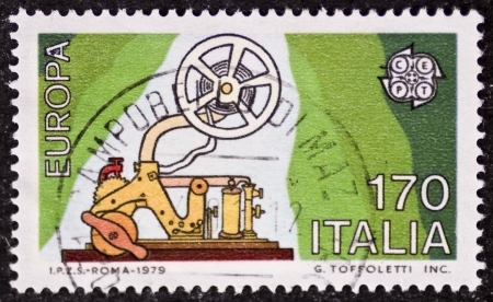 telegraphy: ITALY � CIRCA 1979: a stamp printed in Italy celebrates the European Idea showing an old telegraph machine. Italy, circa 1979