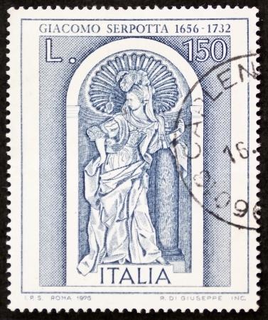"ITALY – CIRCA 1976: a stamp celebrates Giacomo Serpotta, famous Italian sculptor, depicting his famous work ""fortitude"". Italy, circa 1976. Stock Photo - 21844250"