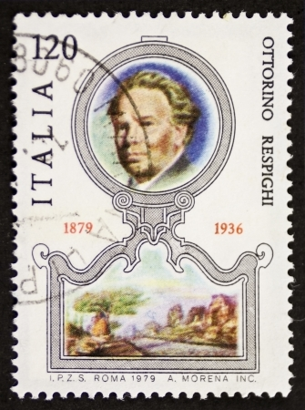 ITALY – CIRCA 1979: a stamp printed in Italy celebrates the first centenary of the birth of Ottorino Respighi (1879 - 1936), famous Italian composer, musicologist and conductor. Italy, circa 1979 Stock Photo - 21844265