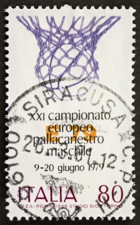 nba: ITALY � CIRCA 1979: a stamp printed in Italy celebrates Italian basketball championship showing image of a basketball basket. Italy, circa 1979