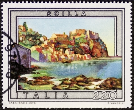ITALY – CIRCA 1979: a stamp printed in Italy shows an illustration depicting Scilla, southern Italy holiday small town in front of the strait of Messina. Italy, circa 1979