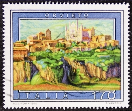 orvieto: ITALY � CIRCA 1979: a stamp printed in Italy shows an illustration of Orvieto, historical city in south-western Umbria. Italy, circa 1979