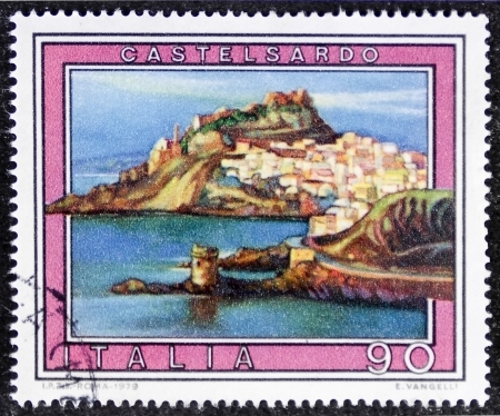 east end: ITALY � CIRCA 1979: a stamp printed in Italy shows an illustration of Castelsardo, coastal town at the east end of the Gulf of Asinara, Sarrdinia. Italy, circa 1979
