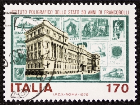 polygraphic: ITALY � CIRCA 1979: a stamp printed in Italy celebrates Italian State Mint and Polygraphic Institute. Italy, circa 1979