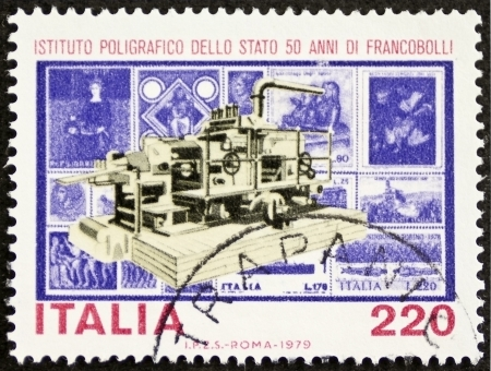 philatelic: ITALY – CIRCA 1979: a stamp printed in Italy celebrates Italian State Mint and Polygraphic Institute. Italy, circa 1979  Editorial